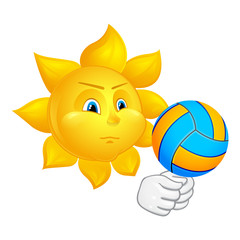 sun is playing volleyball
