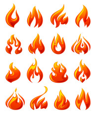 Fire flames, set 3d red icons