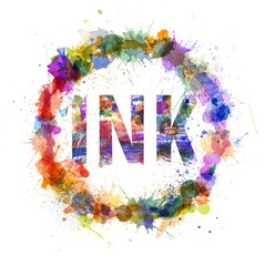 Ink concept, watercolor splashes as a sign