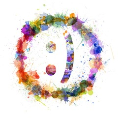 Emoticon smile concept, watercolor splashes as a sign