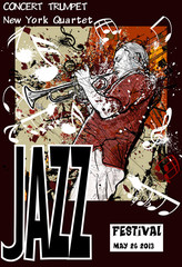 Door stickers Music Band Jazz poster with trumpeter