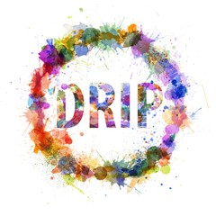 Drip concept, watercolor splashes as a sign