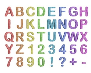Set of 3d rainbow letters