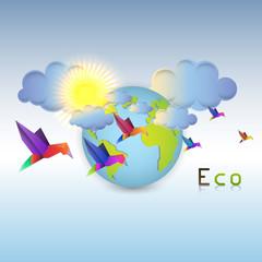 Eco erath with origami birds illustration
