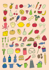 Set of food objects
