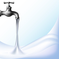 Water background with tap