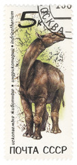 Dinosaur Indricotherium on post stamp