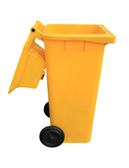 Yellow recycle bins isolated on white background