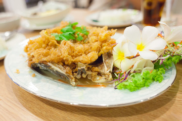 Fried fish with omelet