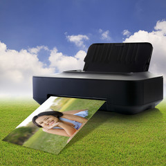 Printer and picture with little girl in the park