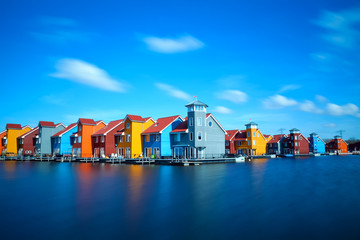 Wall Mural - colorful buildings at Reitdiephaven on water in Groningen