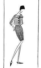 Female checkered suit - skirt and jacket