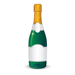 Champagne Bottle with Blank Label for Your Text