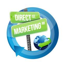 direct marketing road sign and globe illustration
