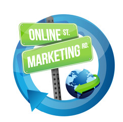 online marketing road sign and globe