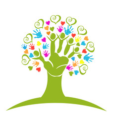 Tree hands hearts and figures logo vector