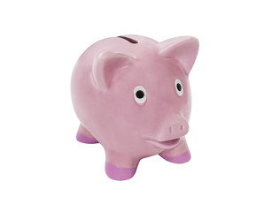 Vintage Pink Piggy Bank Isolated