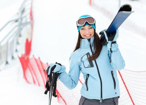 Half-length portrait of female wearing sports jacket