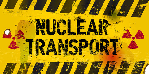 nuclear transport warning sign, rotten and grungy, vector