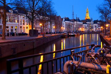 Wall Mural - street along canal at night in Groningen