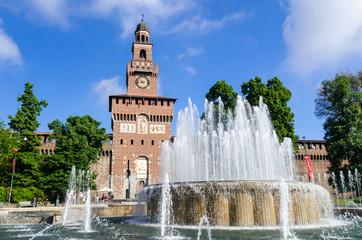 Tuinposter Milan Sforza Castle in Milan, Italy