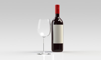 red wine and empty glass