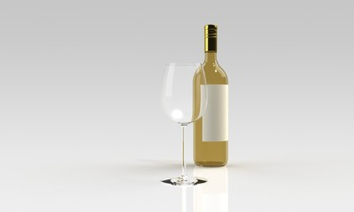 white wine and empty glass