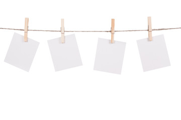 Blank instant photo hanging on the clothesline