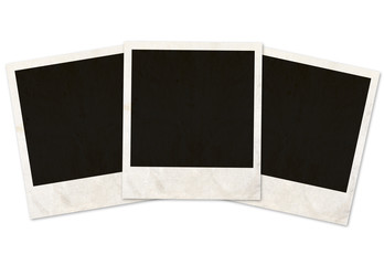 three photo frames on white background
