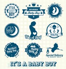 Vector Set: Retro It's A Baby Boy Labels
