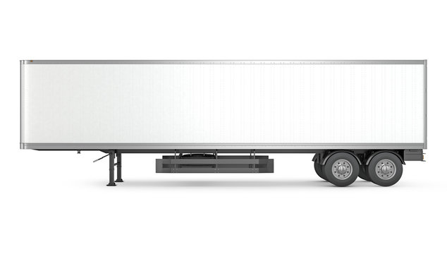Blank white parked semi trailer, side view