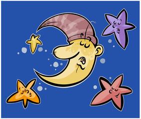 Sleeping Moon and stars.
