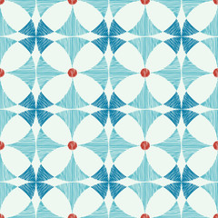 Vector geometric blue red ikat seamless pattern background with