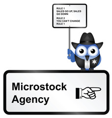 Comical Microstock Agency Rules sign
