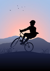 Silhouette illustration of a boy riding a bicycle with mountain