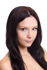 Beautiful brunette twenty years' girl. Isolated on white.