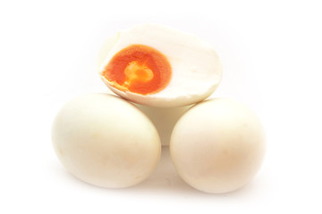 Preserved salted duck eggs on white background