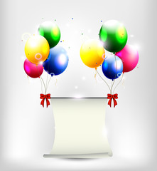 birthday background with balloon and place for text