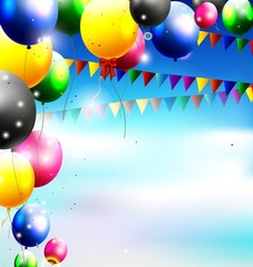 balloons in the sky for birthday background