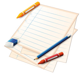 An empty paper with crayons, a pencil and an eraser
