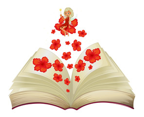 A book with an image of a flower and a fairy