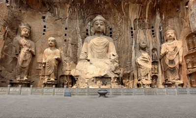 Longmen Grottoes with Buddha's figures