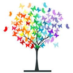 Butterflies rainbow tree