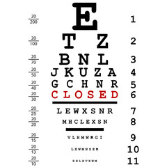 Optical eye test with closed message