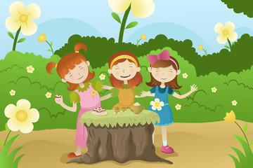Girls having a garden party
