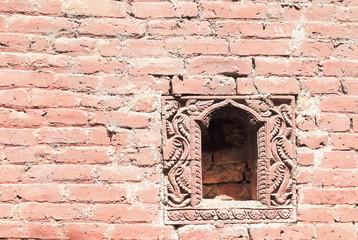 Blind window on the wall. Royal Palace-Bhaktapur-Nepal. 0243