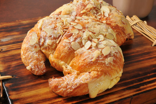 Almond croissants with custard filling