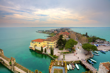 View on Sirmione and Lake Garda fro the castle. Wall mural