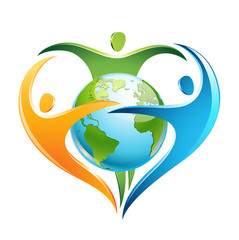 three figures surround Earth in a shape of a heart
