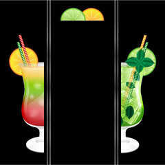 glasses with a cocktail on a black background